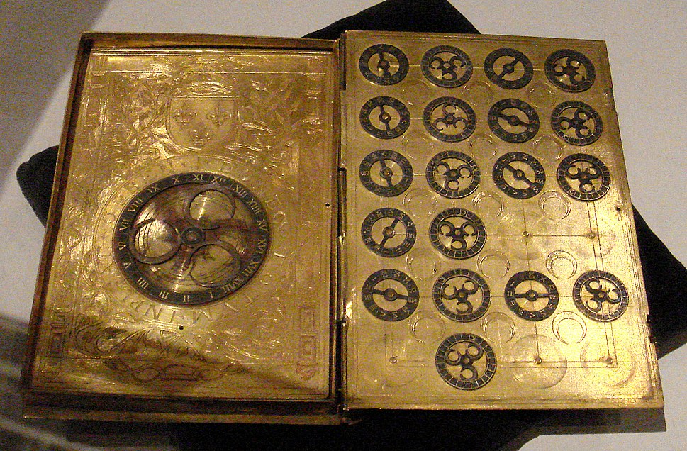 16th century French cypher machine in the shape of a book with arms of Henri II