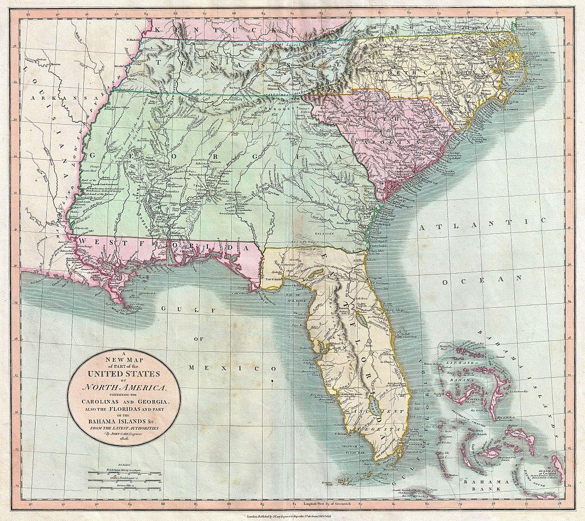 File Cary Map Of Florida Georgia North Carolina South - Map of us 1806