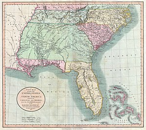 West Florida Controversy - 1806 John Cary map shows West Florida (including Pensacola, which was not part of the U.S. claim) in the hands of Spain, separate from the U.S.-held Louisiana Purchase.