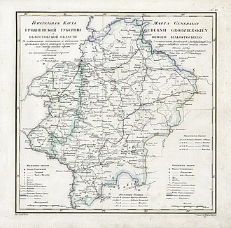 Grodno Governorate - 1821 Grodno Governorate Map (in Russian)