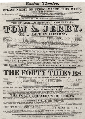 Federal Street Theatre - Image: 1824 Tom Jerry Boston Theatre