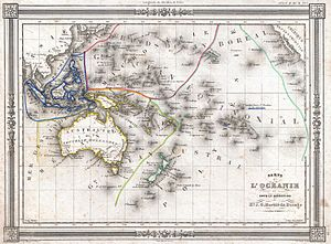 Oceania - 1852 map of Oceania by J. G. Barbie du Bocage. Includes regions of Polynesia, Micronesia, Melanesia and Malaysia.