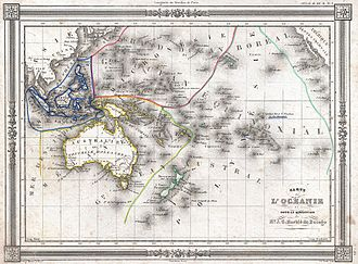 History of Oceania - 1852 map of Oceania by J. G. Barbie du Bocage. Includes regions of Polynesia, Micronesia, Melanesia and Malaysia.