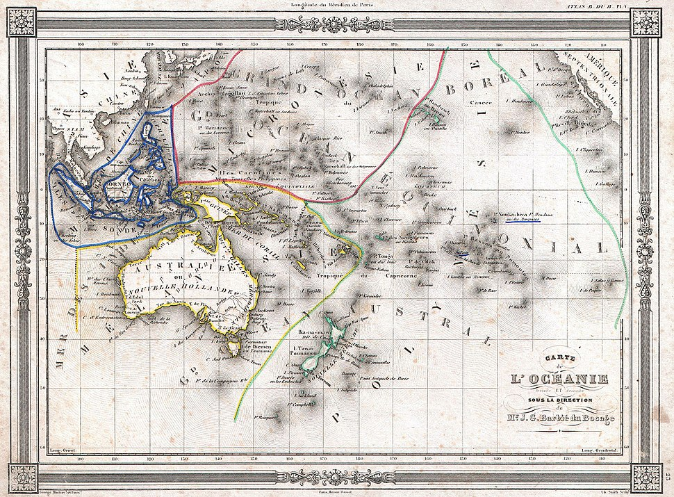 1852 Bocage Map of Australia and Polynesia - Geographicus - Oceanie-bocage-1852