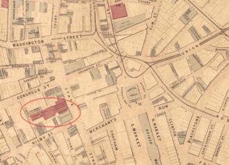 Merchants Exchange (Boston, Massachusetts) - Image: 1869 Merchants Exchange Nanitz map Boston detail BPL 10490
