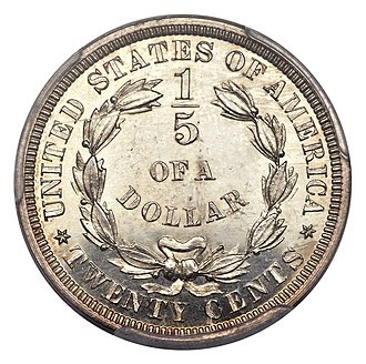 Twenty-cent piece (United States coin) - Pattern reverse designating the denomination as a fifth of a dollar.  The obverse is the Seated Liberty, dated 1875.