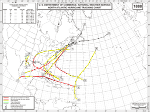 1888 Atlantic hurricane season - Image: 1888 Atlantic hurricane season map