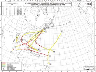 1888 Atlantic hurricane season - Image: 1888 Atlantic hurricane season map