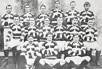 Auckland rugby union team - The Auckland side that defeated the visiting British Isles team in 1904. Gallaher is standing in the back row on the far left.