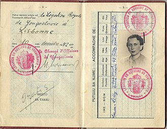 Yugoslav government-in-exile - 1942 issued government in exile passport by Chargé d'affaires in Portugal Milutin Milovanovic.