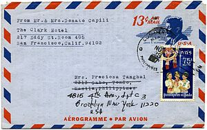English: 1967 US aerogram issued to accommodat...