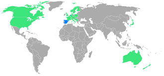 1984 Winter Paralympics - Participating countries; first time participants are blue.