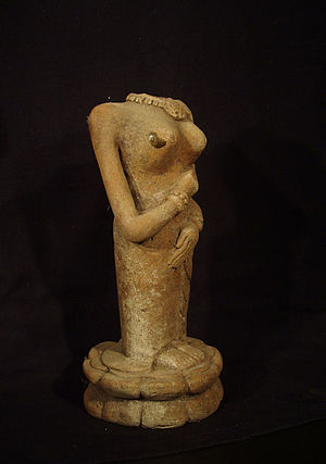 Majapahit Terracotta - High fired figurine with a glaze drip on her breast