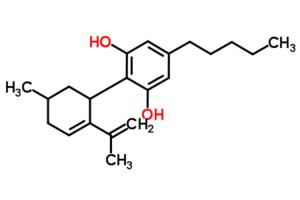 Cannabidiol - Image: 2 (6 Isopropenyl 3 methyl 5 cyclohexen 1 yl) 5 pentyl 1,3 benzenediol