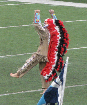 Chief Illiniwek - A performance of Chief Illiniwek at a football game in 2006