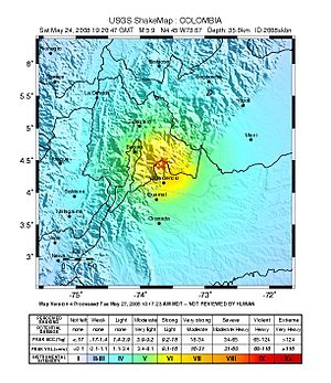 2008 El Calvario earthquake - Image: 2008 Colombia earthquake intensity map