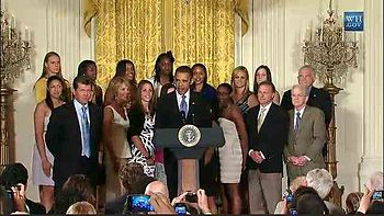 Whitehouse ceremony commemorating 2010 NCAA National Champions Connecticut Huskies women's basketball team