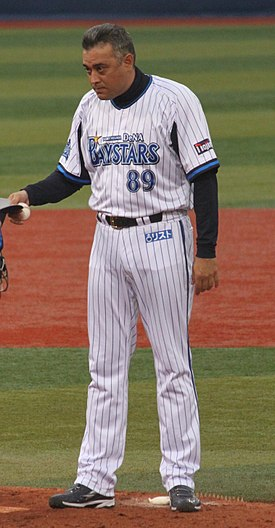 20120318 Yui Tomori,coach of the Yokohama DeNA BayStars,at Yokohama Stadium.JPG