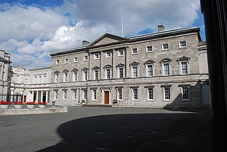 Post and lintel - Leinster House in Dublin retains columns under a pediment for aesthetic reasons.