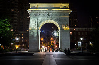 Washington Square Park park in the Greenwich Village neighborhood of Lower Manhattan, New York City