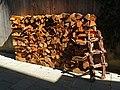 2018-05-13 (162) Woodpile with Larix (larch wood) as decoration at Bichlhäusl in Frankenfels, Austria.jpg