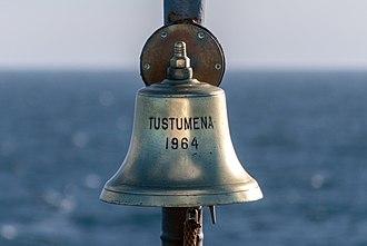 MV Tustumena - Image: 2018 11 13 Bell of MV TUSTUMENA IMO 6421086 18 09 11
