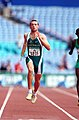 221000 - Athletics track 400m T46 Heath Francis action - 3b - 2000 Sydney race photo.jpg