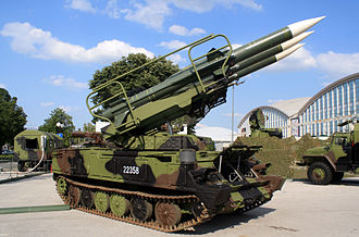 2K12 Kub - 2P25 TEL with missiles elevated, (2K12 Kub SAM of Serbian Army 250th Air Defense Brigade)
