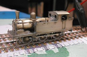 2 mm scale - A 2mm scale steam locomotive in unpainted condition