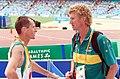 301000 - Athletics Australian head coach Chris Nunn talks to athlete 2 - 3b - 2000 Sydney race photo.jpg