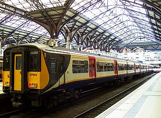 West Anglia Great Northern - Refurbished Class 317 in the original WAGN livery at Liverpool Street station in 2006