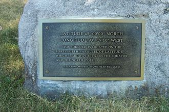 Theodore Wirth Park - 45th Parallel marker
