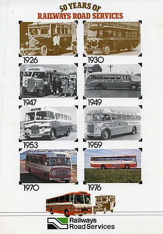 New Zealand Railways Road Services - Back cover of a commemorative publication about Railway Road Services in New Zealand published 1976, showing the buses used from 1926 to 1976.