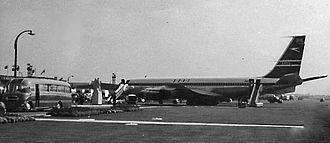 History of British Airways - BOAC Boeing 707-400 at Heathrow Airport in 1960