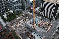 8th & Howell hotel project under construction - aerial view, July 2016 (28063261541).jpg