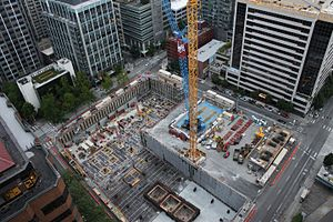 Hyatt Regency Seattle - Aerial view of site construction in July 2016