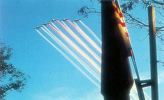 "Nha Trang Air Base - South Vietnam A-1E ""Skyraiders"" forming South Vietnamese Flag in the Sky"