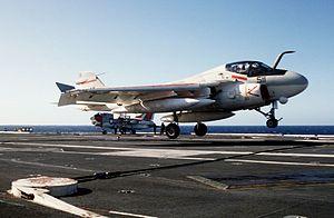 A-6E VA-196 landing on USS Carl Vinson (CVN-70) 1983.JPEG