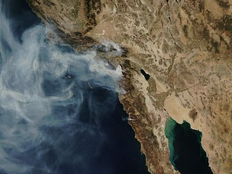 2007 California wildfires - NASA satellite photo (provided by NSPO, Taiwan National Space Organization) from October 24, 2007, showing the active fire zones and smoke plumes.
