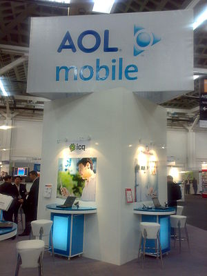 AOL - An AOL Mobile sign at GSMA Barcelona 2008