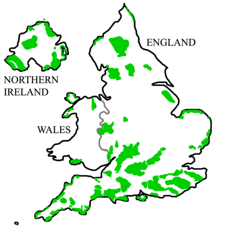 England, Wales and Northern Ireland AONBs. The Pennines host three, with a large one protecting the North Pennines. AONBSUK.png