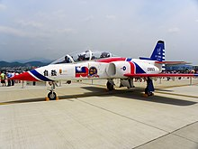 AT-3 of Thunder Tiger Aerobatics Team with Memorial Emblem in Songshan Air Force Base 20110813a.jpg