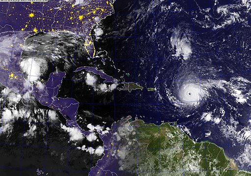 A GOES satellite image showing Hurricane Irma in the Atlantic Ocean. (37044690075)