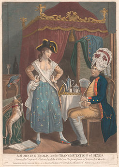 A parodic cartoon depicting male and female crossdressing, c. 1780, after a work by John Collet.