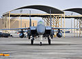A U.S. Air Force F-15E Strike Eagle aircraft assigned to the 335th Expeditionary Fighter Squadron taxis to its parking spot after a sortie Jan. 13, 2014, at an undisclosed location in Southwest Asia 140113-F-XR500-146.jpg