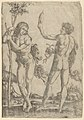 A young naked man standing at left leaning on the trunk, another seen from behind, holding two snakes in his right hand and a convex mirror in his raised left hand MET DP854406.jpg