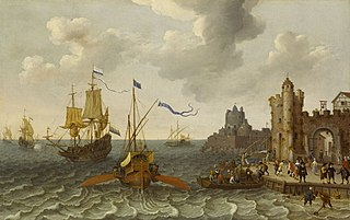 A French Galley and a Dutch men of war off a Port