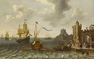Sailing ship tactics - A French galley and Dutch man-of-war off a port by Abraham Willaerts, painted 17th century.