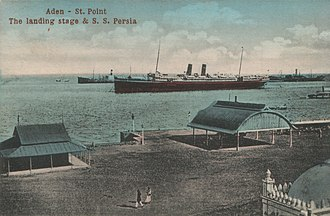 Aden - Port of Aden (around 1910). Ships lying off Steamer Point at the entrance to the modern inner harbour.