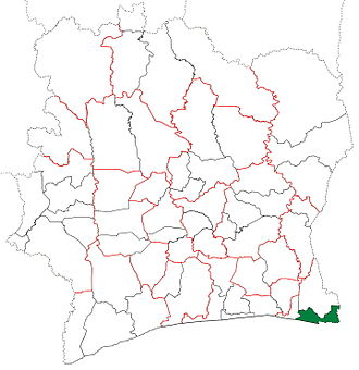 Adiaké Department - Adiaké Department upon its creation in 1998. It kept these boundaries until 2008, but other subdivision boundary changes began to be made in 2000.